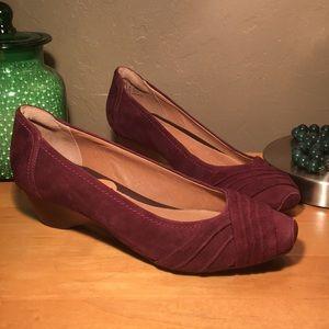 Clarks Suede Wedge Heels NEW Maroon Dress Shoes